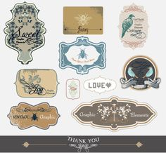 Retro and Vintage Labels (free PSD download)