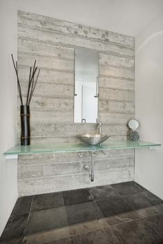 Minimalist powder room. Quezada Architecture.
