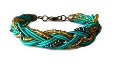 Green Gold and Purple/Blue Braided Bracelet by CloudNineDesignz $18.00