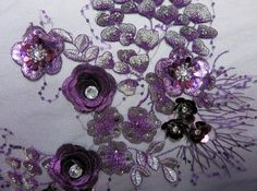 EMBROIDERED 3D FLOWER Lace In Purple Royal Blue от allysonjames