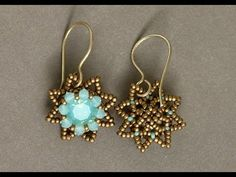 Sidonia's handmade jewelry - Little Stars Swarovski beaded earrings #Seed #Bead #Tutorials