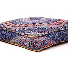 """Amazon.com: Large Indian Meditation Floor Pillow Cover 35"""" X 35"""" Inch Elephant Mandala Ottoman Cushion Dog Bed Outdoor Sofa Day Bed Kids Teen Floor Pillow: Home & Kitchen"""