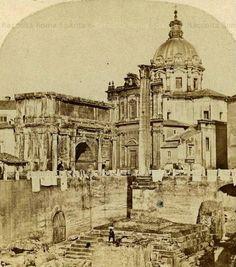 Foro Romano – Panni stesi all'Arco di Settimio Severo e Colonna di Foca Anno: 1859