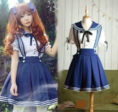 Japanese kawaii sailor straps skirt shirt two-piece