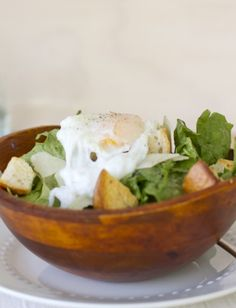 Caesar Salad with a Poached Egg! Great protein packed, low calorie salad! | day dream kitchen