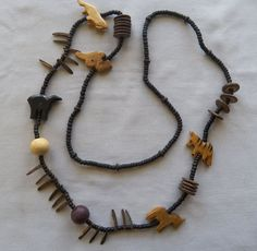 $3.00 Wooden bead and Carving Necklace (52415-1038) jewelry, fashion #StrandString