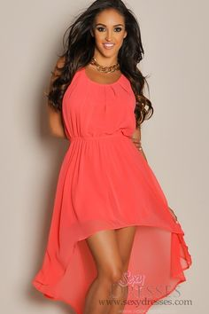 sleeveless summer coral high low maxi dress