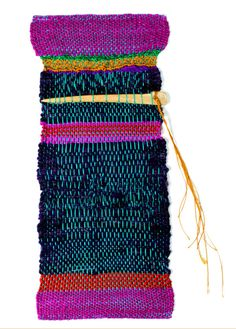 "Sheila Hicks, Sivad Needle, cotton, linen, silk, bone, executed in 2015: ""Bone of contention sewn with humour."""