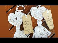 Crochet Corazón Fácil - YouTube Crochet Flats, Crochet Projects, Macrame, Tassels, Place Card Holders, Baby Shower, Sewing, Knitting, Christmas