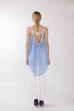Sky blue silk chiffon and lace top Assymetric top by Couturetime, $419.00