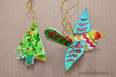 Try this easy Christmas craft activity - download our free printable Christmas decorations and make a dove and a Christmas tree.