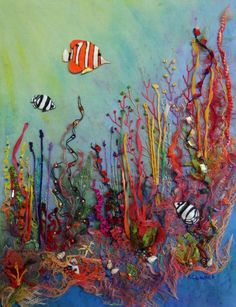 Underwater Plants Ocean Quilt, Fish Quilt, Embroidery Art, Embroidery Stitches, Crazy Quilt Blocks, Crazy Quilting, Mermaid Quilt, Paper Crafts Magazine, Sea Life Art