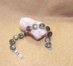 Button Charm Bracelet Vintage Purple Brass by SoraCreations, $23.50