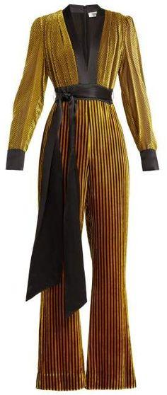 d32f3b81977 Diane von Furstenberg Satin Trimmed Striped Velvet Jumpsuit - Womens - Black  Gold Gold Jumpsuit