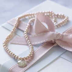 Flowergirl gift  Personalised pearl necklace - rose