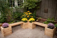 banc-jardin-angle-bois-clair-bacs-fleurs-intégrés
