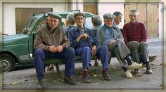 Relaxing elderly people <3 although it looks like a separation of the sexes