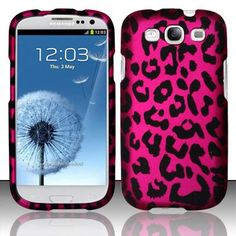 Girly Pink Leopard Skin Hard Snap on Case AT Galaxy S III