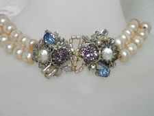 Early Miriam Haskell Baroque Pearl & Rhinestone Centerpiece Necklace