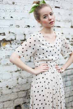 I still love this long polka dot dress. From The Whitepepper.   It'd be cute with a red belt :)