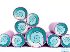 Teal , Light Blue , Pink & Violet Polymer clay millefiori Spiral cane , raw and unbaked polymer clay Fimo cane by Ronit Golan