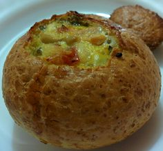 bun with egg, veggie and cheese