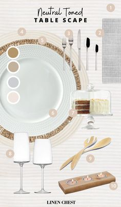 Your Quarantine Dinner Party Just Reached the Next Level | LC Living Table Set Up, Neutral Tones, Table Linens, White Porcelain, Tablescapes, Dinnerware, Table Settings, Colours, Simple