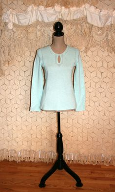 Pure Cashmere Sweater Spring Sweater Pastel Blue Sweater Light Sweater Long Sleeve Sweater Knit Tunic Mainbocher Size Small Womens Clothing