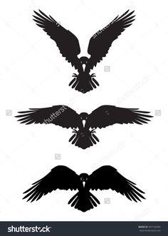 Dark Evil Heraldic Raven With Spread Wings. Mascot, Logotype, Label. Stock Vector Illustration 437122495 : Shutterstock