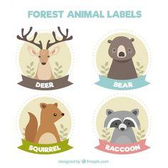 Etiquetas bonitas floresta animais no estilo do vintage Vetor grátis