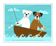 365D Dog Print Two Boxer Dogs Fishing Wall Art Dog Drawing