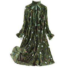 2018 New Vintage Ruffled Flower Print Dress Long Sleeve Women Spring Summer  Knee Pleated Dress Slim Women Dress vestidos Enjoy ✓Free Shipping Worldwide! 6f2626b1ba0c