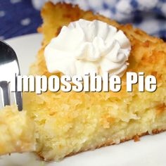 Pie Impossible Pie - The easiest pie you will ever bake! It magically forms its own crust plus two delicious layers while baking.Impossible Pie - The easiest pie you will ever bake! It magically forms its own crust plus two delicious layers while baking. No Bake Desserts, Easy Desserts, Delicious Desserts, Yummy Food, Coconut Desserts, Easy Coconut Custard Pie Recipe, Coconut Pie Recipes, Water Pie Recipe, Healthy Desserts