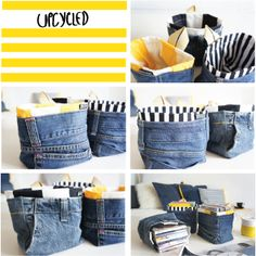 jeans upcycled Fabric Basket Tutorial, Upcycle, Jeans, Fashion, Moda, Upcycling, Fashion Styles, Repurpose, Fashion Illustrations