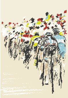 Tour de France riders on the un-paved roads of Belgium Bicycle Tattoo, Bike Tattoos, Bike Illustration, Graphic Design Illustration, Cycle Painting, Bike Poster, Bicycle Race, Design Poster, Ad Art