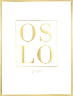 Plakat med Oslo i gulltrykk.