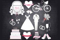 Chalkboard Wedding Doodle ClipArt - Illustrations - 1