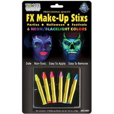 If you need neon makeup, these are for you. 6 neon water soluble color makeup sticks: yellow, orange, pink, green, blue and purple. Box Dimensions (in Inches) Length : 12.00 Width : 7.00 Height : 1.00