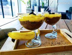 Raw kakaový chia puding s mangom - recept Chia Puding, Omega 3, Margarita, Veggies, Gluten, Pudding, Tableware, Recipes, Food