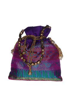 Purple and multi-hued potli bag with multi-beads and pearl handle