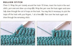 bullion stitch crochet- Looks AMAZING!!!!!!!!!!!!!!!!!!!  I'll have to try this and see how stiff it turns out