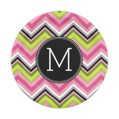 Hot Pink, Lime and Black Chevron Pattern Monogram 7 Inch Paper Plate