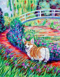 Pembroke Welsh Corgi Colorful Giclee Fine Art Print by DogArtByLyn, $19.94