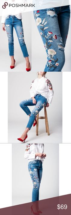 DAISY distressed skinny jeans Super darling and trendy distressed Denim jeans with flower embroidery.   ALL THE RAGE!! Embroidered is coming on strong for this season.    You are sure to get noticed in this beauties.     NO TRADE  PRICE FIRM Jeans Skinny