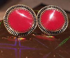 "Rare Laurel Burch ""Sun"" in Bold Red & 22KT GP  Black Accents Stud Earrings 7/8"""