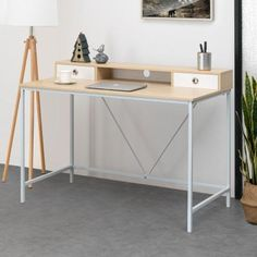 Bring a versatile appeal to your living space by selecting this amazing Shallow Wood Grain Writing Desk. Features modern and multi-purpose design. Computer Desk With Shelves, Desk Shelves, Desk With Drawers, Shelf, Ikea Hack Bedroom, Built In Hutch, Natural Furniture, Large Desk, Bedroom Decor