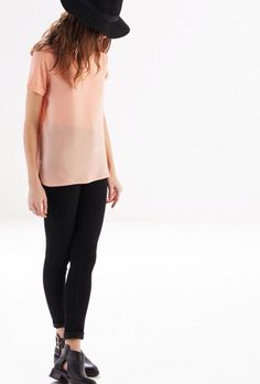 Black booties pink ziper shirt