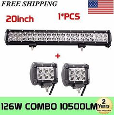 20'' 126W Cree LED Work Light Bar Offroad Boat Lamp Spot Flood Combo  2X4'' 18W