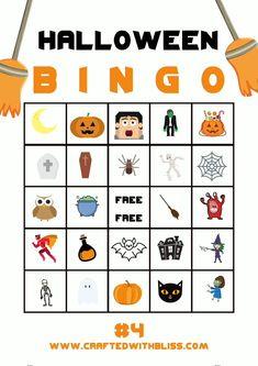 Halloween Activities For Kids, Halloween Party Games, Halloween Birthday, Halloween Fun, Preschool Halloween Crafts, Kindergarten Halloween Party, Halloween Bingo Cards, Halloween Unicorn, Halloween Printable