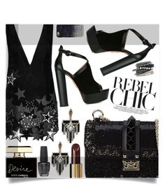 """""""In The Dark"""" by sonny-m ❤ liked on Polyvore featuring Anthony Vaccarello, Aquazzura, Valentino, Lulu Frost, Chanel, Dolce&Gabbana, OPI, Marc by Marc Jacobs, H&M and women's clothing"""